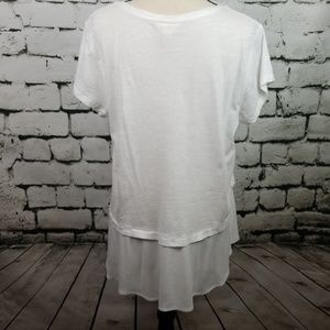 Style & Co Tops - White Casual Knit Top w/ Sheer Extender Large